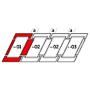 Raccordement combiné a = 100 mm 78 cm x 98 cm Profilés en cuivre pour matériaux profilés jusqu'à 90 mm Montage abaissé (ligne bleue)