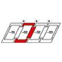 Raccordement combiné a = 100 mm 78 cm x 118 cm Profilés en zinc-titane pour matériaux plats jusqu'à 16 mm (2x8 mm) Montage standard (ligne rouge)