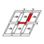 Raccordement combiné a = 100 mm / b = 250 mm 114 cm x 140 cm Profilés en cuivre Montage standard (ligne rouge)