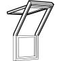 Fenêtre-terrasse haut 78 cm x 140 cm Bois de pin peint en blanc Profilés extérieurs en zinc-titan Vitrage triple Thermo 2