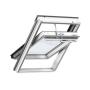 Fenêtre de toit à rotation en bois 134 cm x 160 cm Bois de pin peint en blanc Profilés extérieurs en cuivre Vitrage triple Thermo 2 Plus la fenêtre de toit pour la Suisse VELUX INTEGRA® Solar automatique