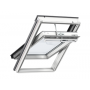 Fenêtre de toit à rotation en bois 114 cm x 70 cm Bois de pin peint en blanc Profilés extérieurs en zinc-titane Vitrage triple type --62 Pour des exigences accrues en acoustique VELUX INTEGRA® electrique automatique