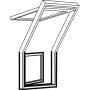 Fenêtre-terrasse gauche 78 cm x 109 cm Bois de pin verni transparent Profilés extérieurs en zinc-titane Vitrage triple Thermo 2