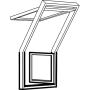 Fenêtre-terrasse droite 78 cm x 109 cm Bois de pin peint en blanc Profilés extérieurs en zinc-titane Vitrage triple Thermo 2