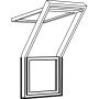 Fenêtre-terrasse centre 78 cm x 109 cm Bois de pin peint en blanc Profilés extérieurs en cuivre Vitrage triple Thermo 2